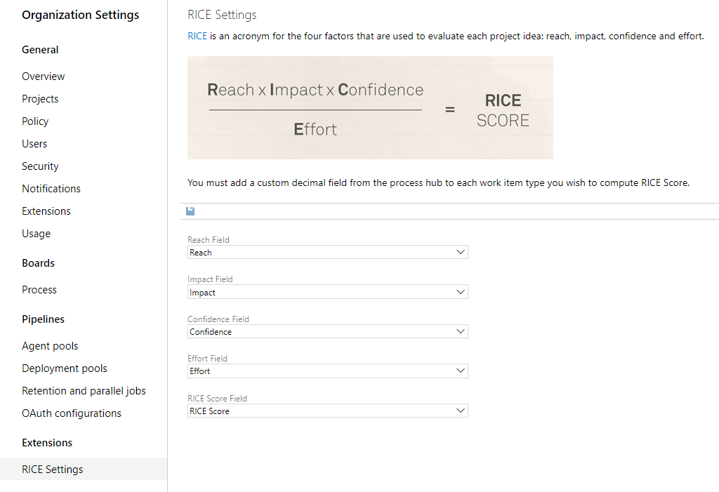 RICE displaying on the work item form